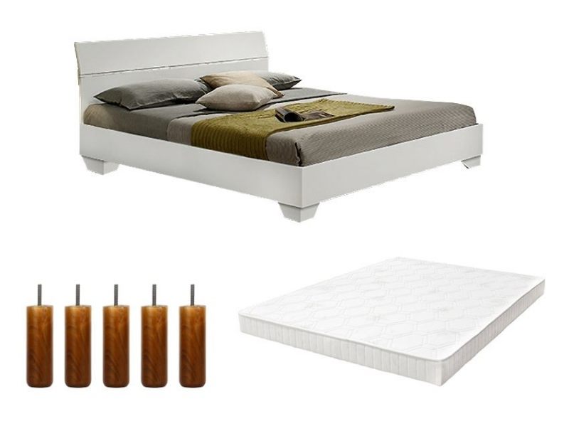 pack lit gloria enfant 140cm avec sommier tapissier et pieds pas cher. Black Bedroom Furniture Sets. Home Design Ideas