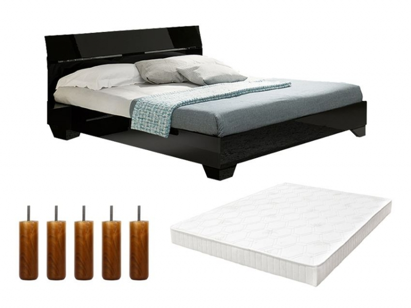 pack lit gloria enfant 160cm avec sommier tapissier et pieds pas cher. Black Bedroom Furniture Sets. Home Design Ideas