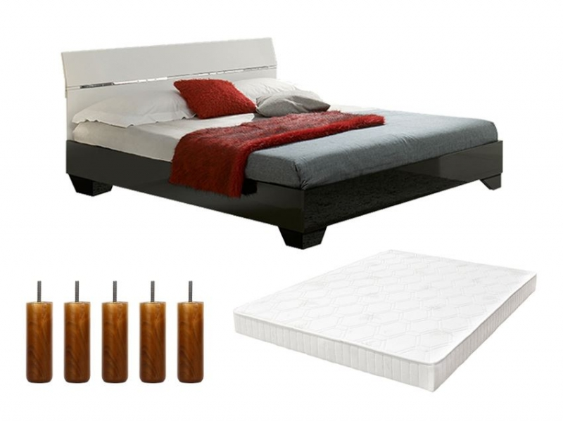 pack lit gloria 160cm avec sommier tapissier et pieds pas cher. Black Bedroom Furniture Sets. Home Design Ideas