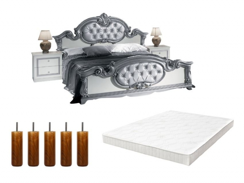 pack lit barocco 160 blanc sommier tapissier pieds pas cher. Black Bedroom Furniture Sets. Home Design Ideas