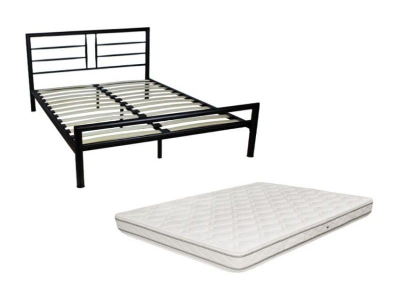pack lit 160 haiti metal avec matelas royal pas cher. Black Bedroom Furniture Sets. Home Design Ideas