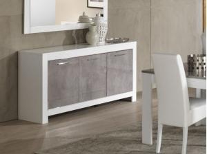 Buffet 3 portes Modena blanc et gris