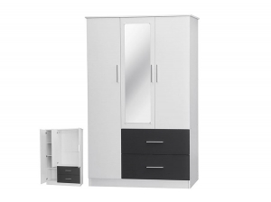 Armoire Henry 3P 2T blanc gris