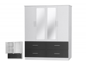 Armoire Henry 4P 4T blanc gris