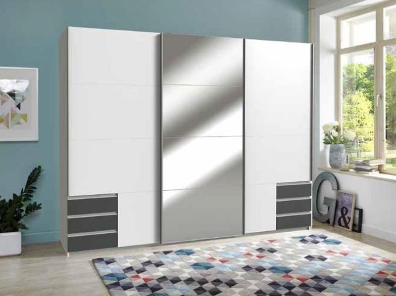 Armoire coulissante Seattle + 1+ 3 tiroirs miroir blanc gris