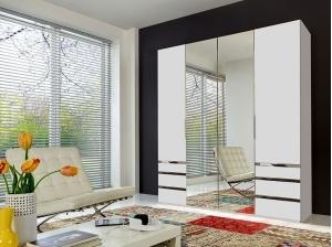Armoire 4P Level Blanc Miroir