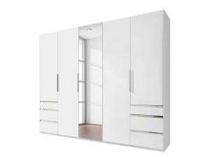 Armoire 5P Level Blanc Miroir