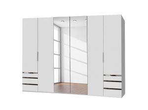 Armoire 6P Level blanc Miroir