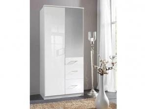 Armoire Clack 2P 3T + 1 miroir blanche