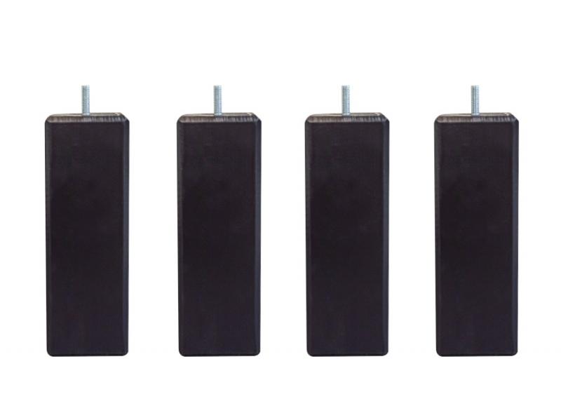 Lot de 4 Pieds sommier carré noir