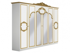 Armoire BAROCCO blanc or 6P