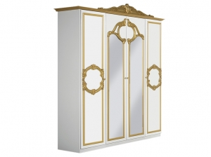 Armoire BAROCCO blanc or 4P