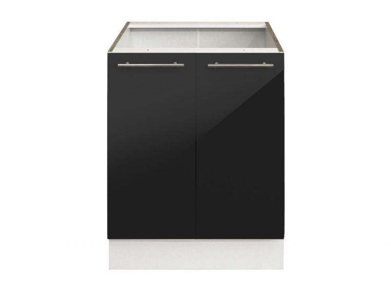 el ment bas 60 cm noir 2 portes pas cher. Black Bedroom Furniture Sets. Home Design Ideas