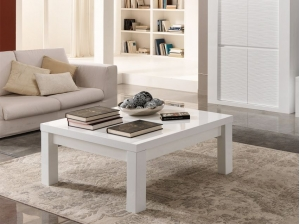 Table basse carrée Venezia blanc et gris