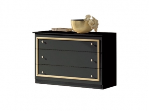 Commode Barocco noire et or